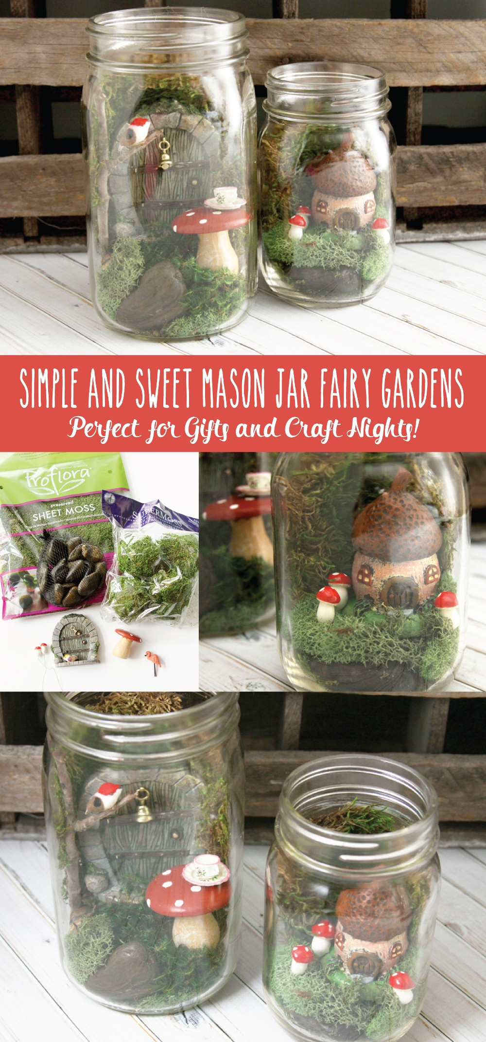 Simple and Sweet Mason Jar Fairy Gardens - these are so cute and so easy to do. They are perfect if you've been wanting to try Fairy Gardens!