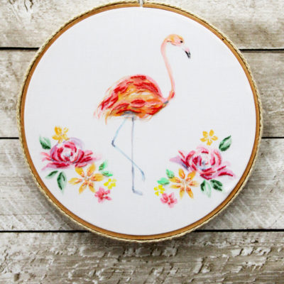 Watercolor Floral Flamingo Embroidery Hoop Art