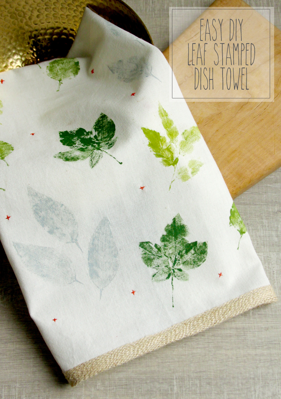 Easy Diy Leaf Stamped Dish Towel