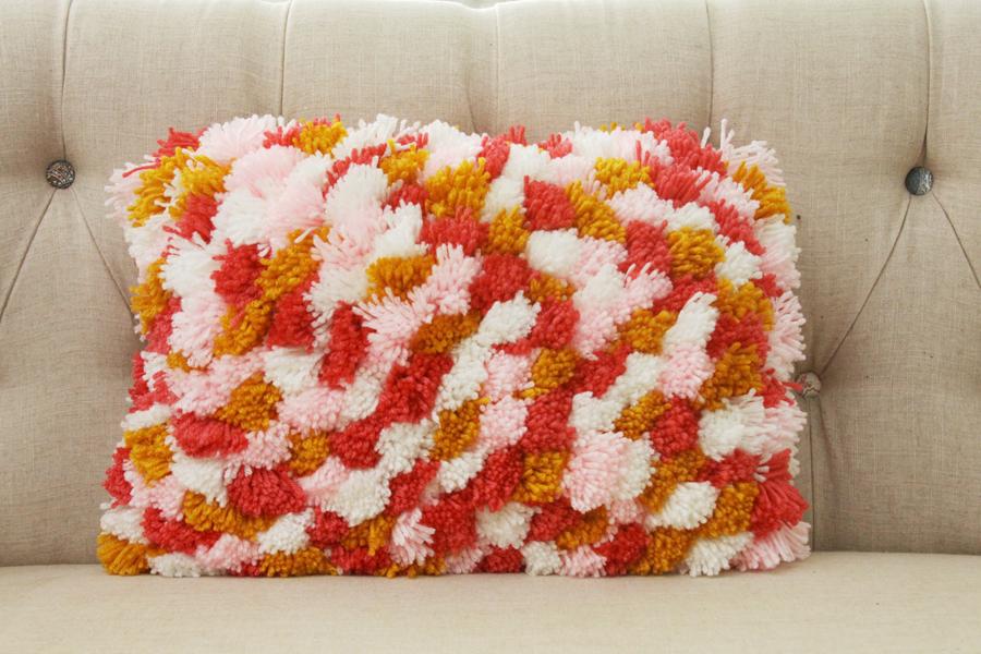Colorful DIY Pom Pom Pillow