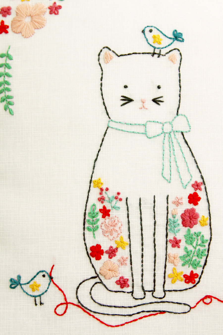 Kitten and Friends Floral Embroidery Pillow