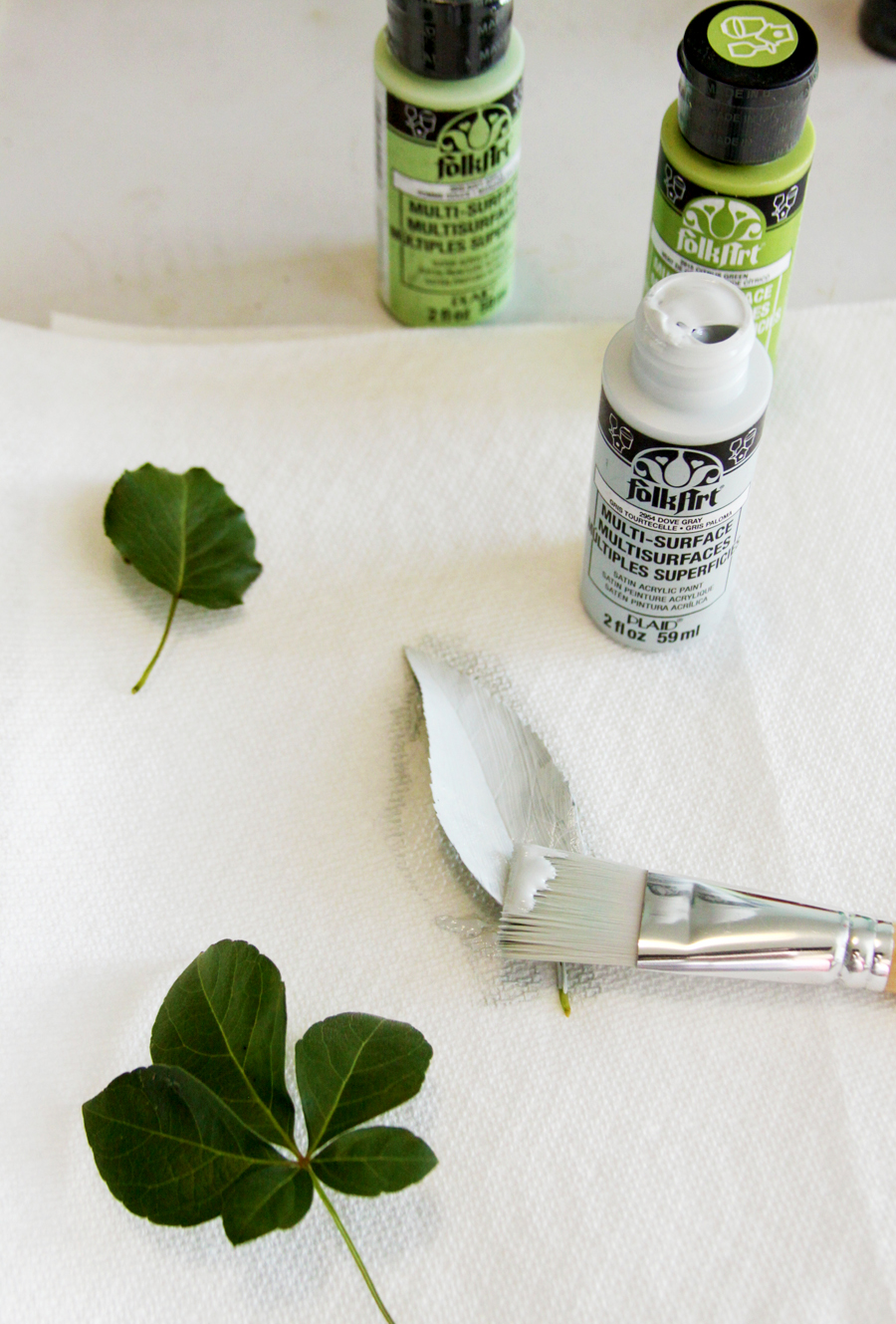 Easy DIY Leaf Stamped Dish Towel