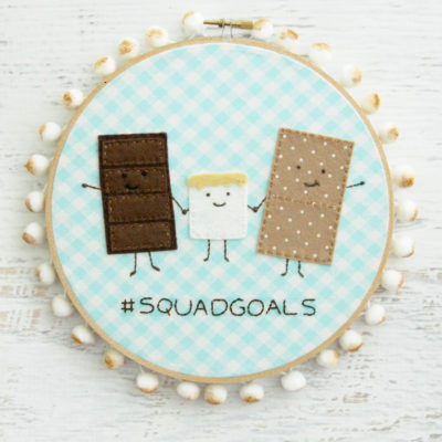 Cute Summer S'mores Embroidery Hoop Art