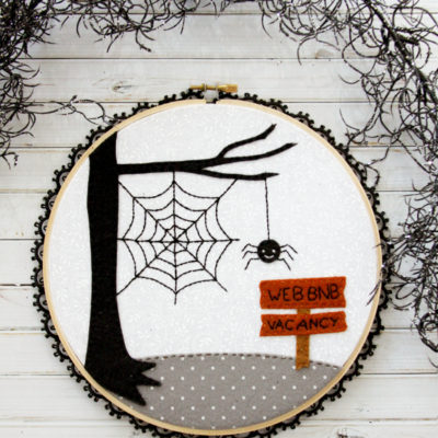 Web BNB Halloween Embroidery Hoop Art with Free Pattern