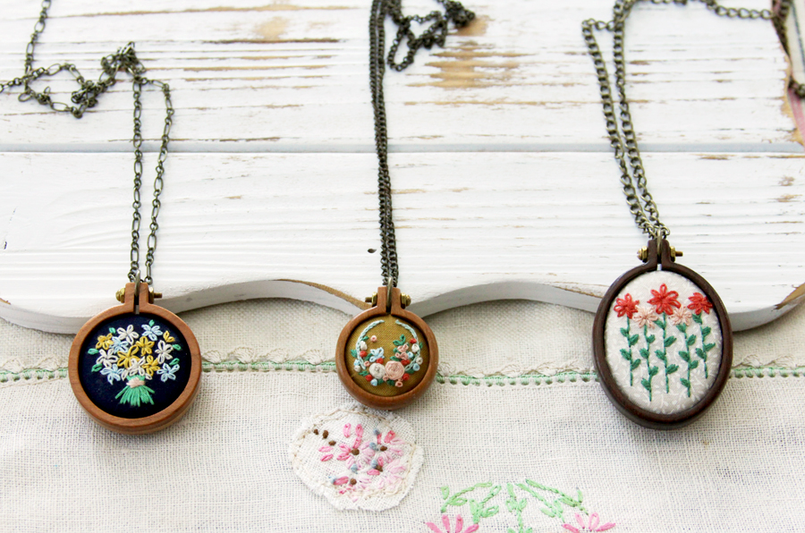 Three Sweet Embroidered Mini Hoop Necklaces