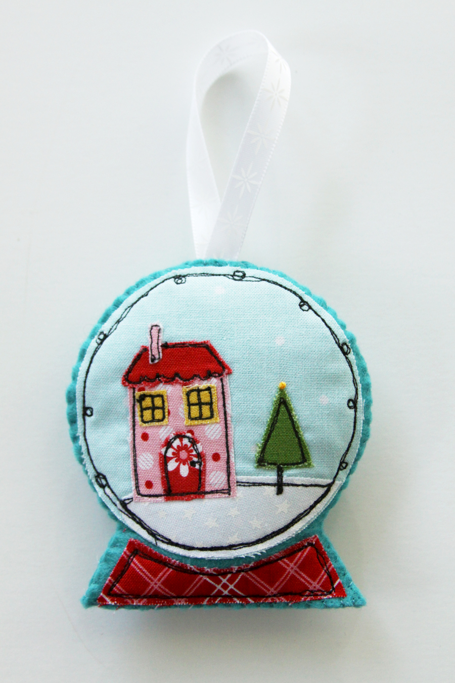 Fabric and Felt Snowglobe Ornaments