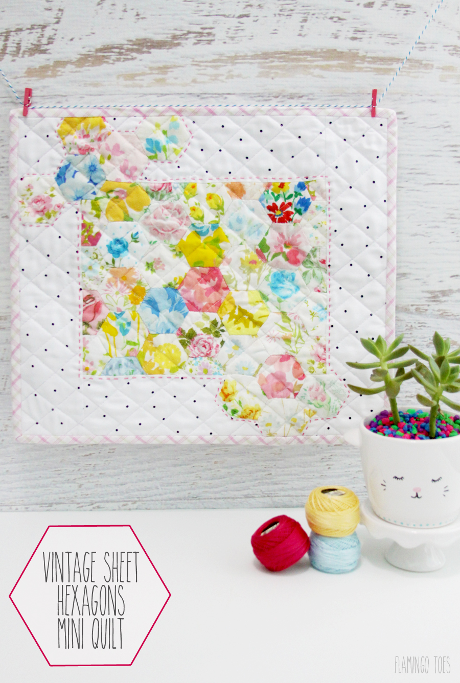 Vintage Sheet Hexagons Mini Quilt