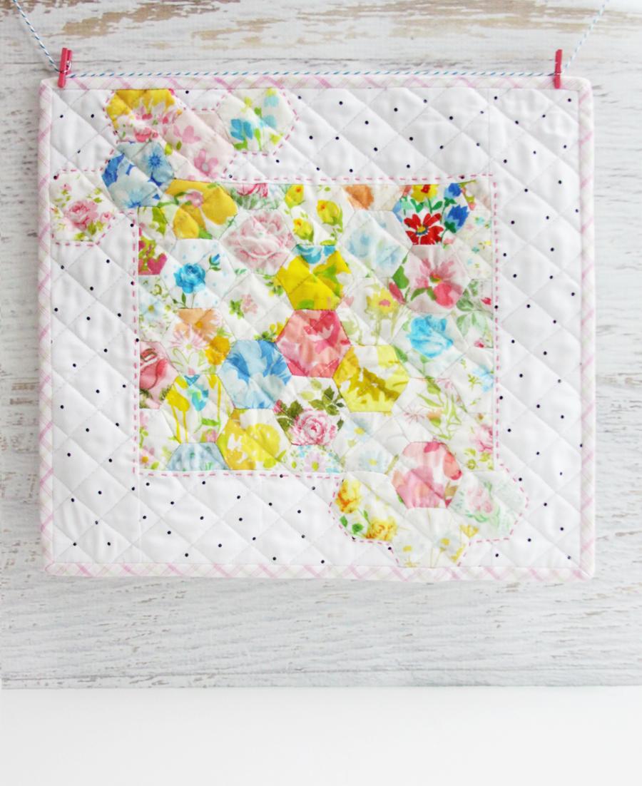 Vintage Sheet Hexagons Mini Quilt