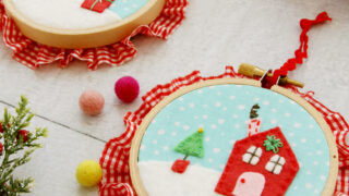 Sweet Fabric and Felt Hoop Ornaments