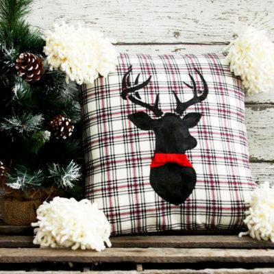 Flannel Deer Christmas Pillow