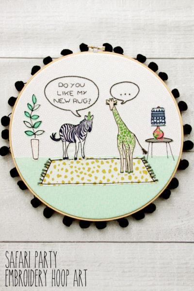 Fun Safari Party Embroidery Hoop Art