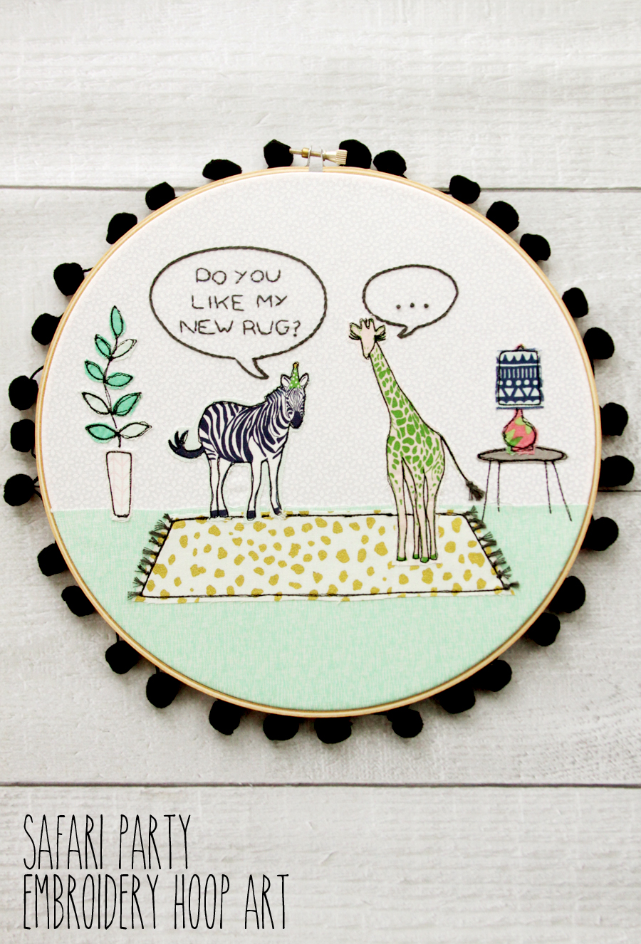 Fun Safari Party Embroidery Hoop Art