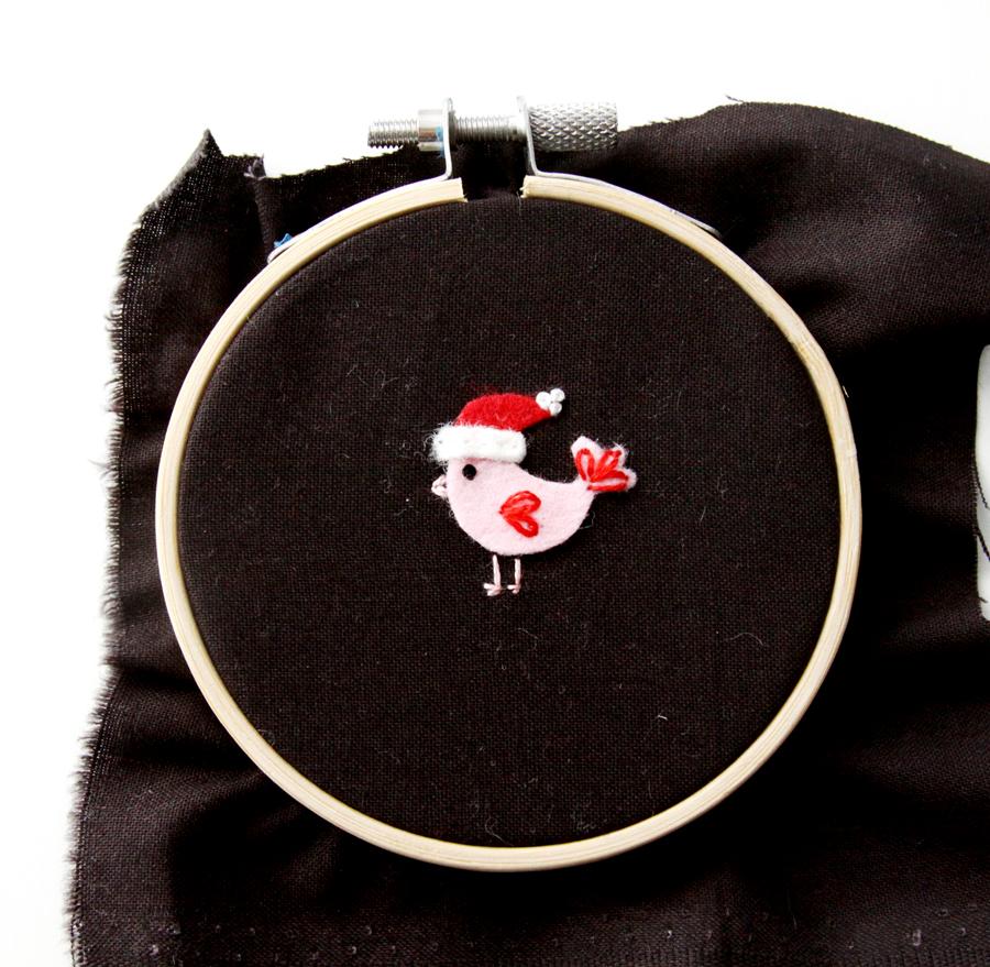 Sweet Fabric and Felt Birdhouse Hoop Ornament