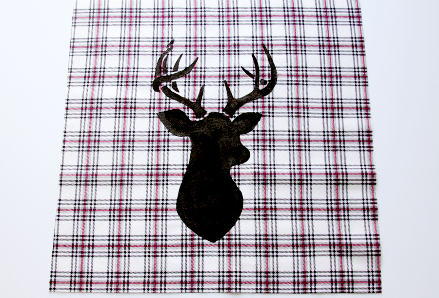 Flannel Deer Christmas Pillow