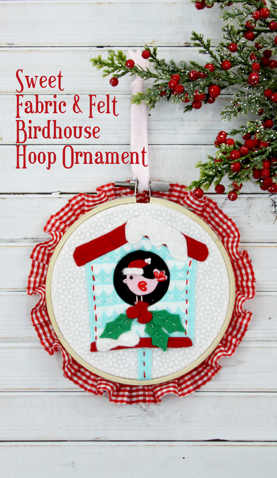 Sweet Fabric and Felt Birdhouse Hoop Ornament | Fabulous and Fun DIY Christmas Ornaments by popular Tennessee craft blog, Flamingo Toes: image of a fabric and felt birdhouse hoop ornament.