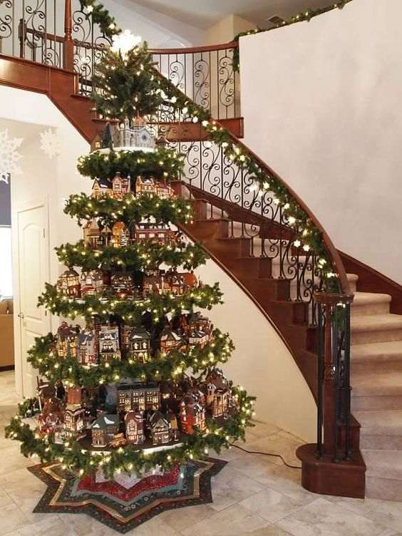 creative christmas villages - Christmas Tree Village