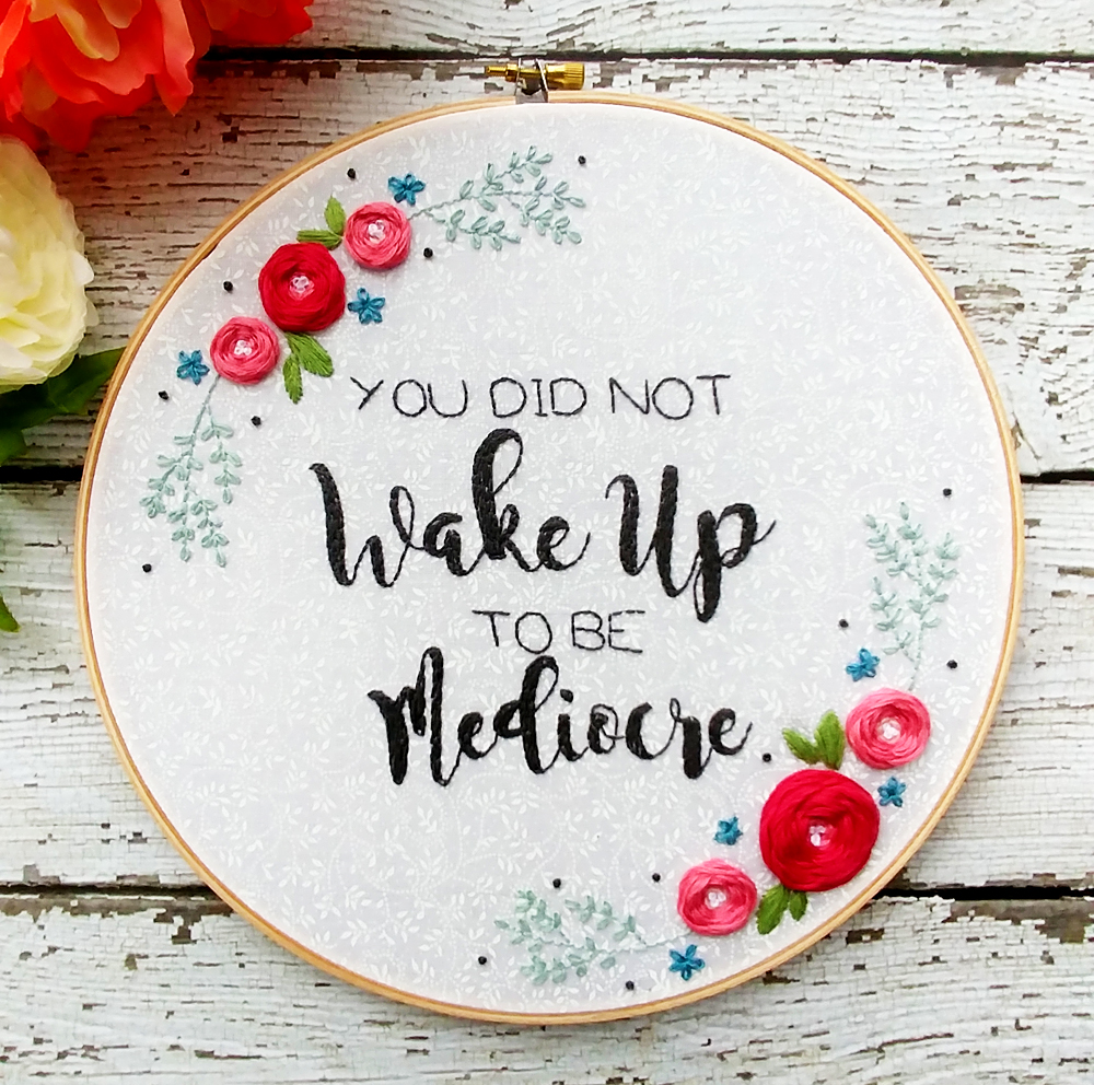 Positive Floral Embroidery Hoop Art