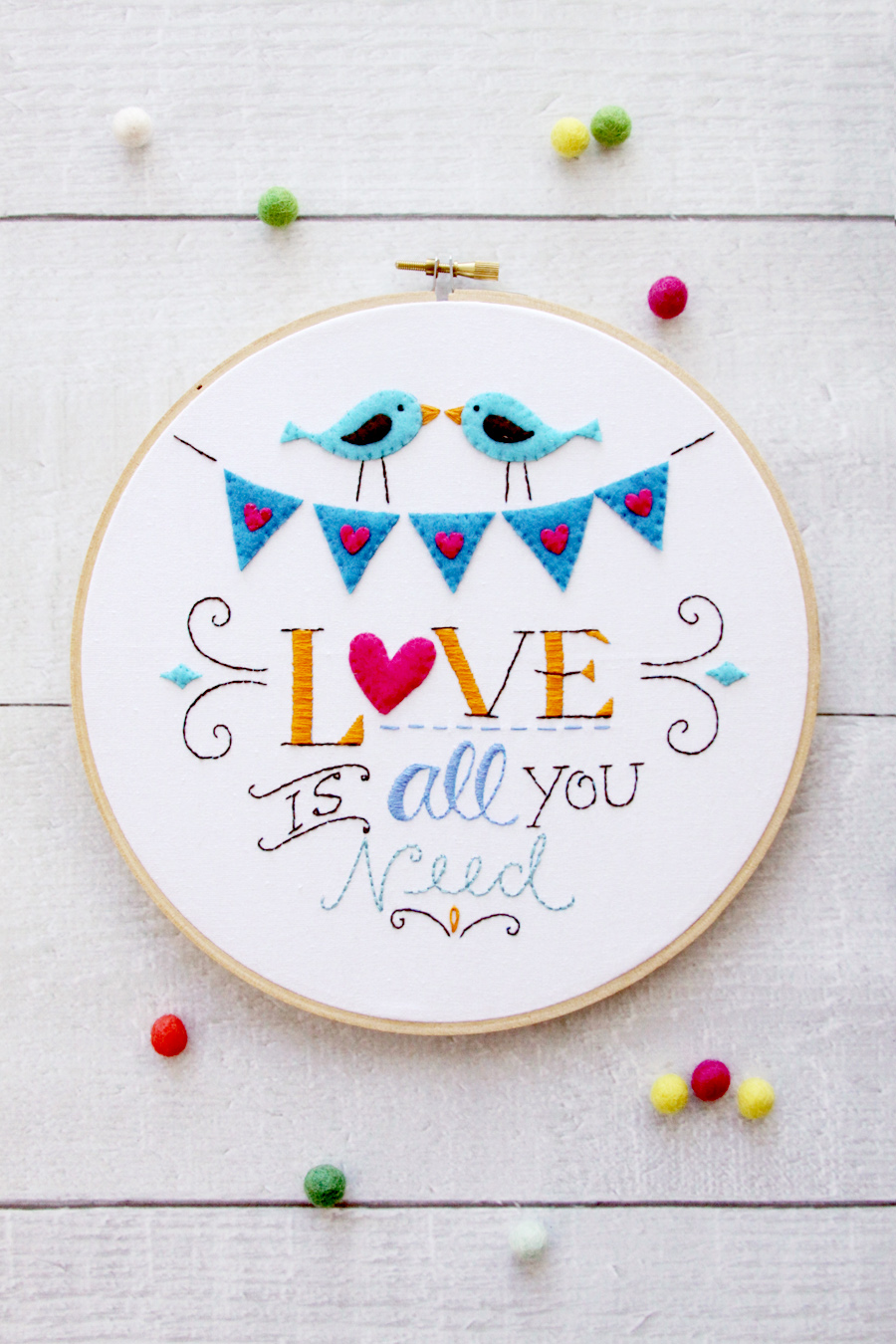 Love is All You Need Embroidery Hoop Art