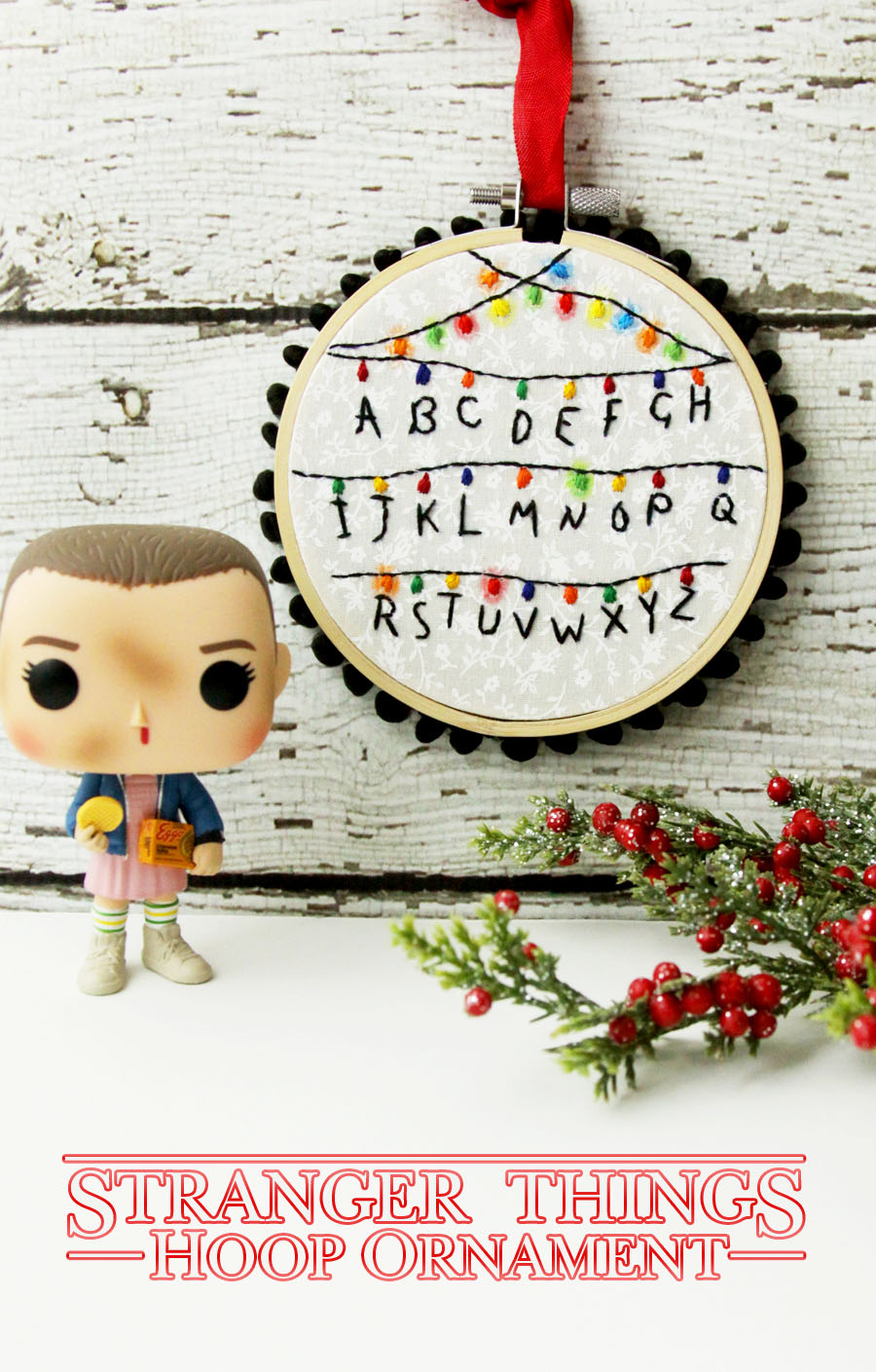 Stranger Things Hoop Ornament | Fabulous and Fun DIY Christmas Ornaments by popular Tennessee craft blog, Flamingo Toes: image of Stranger Things hoop ornament.