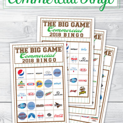 2018 Big Game Commercial Bingo