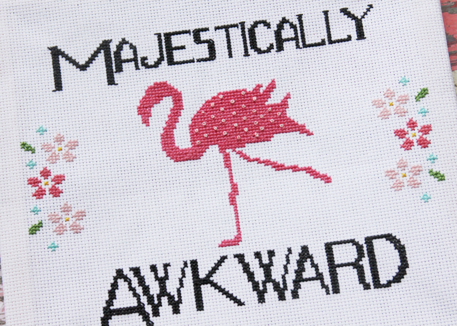 Majestically Awkward Fun Flamingo Cross Stitch