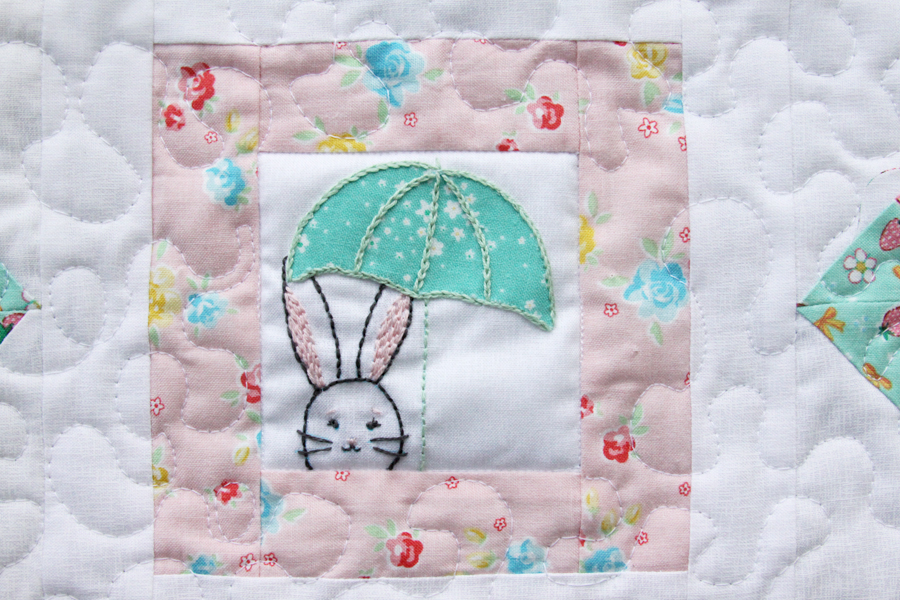 Spring Star Mini Quilt and Embroidered Bunny