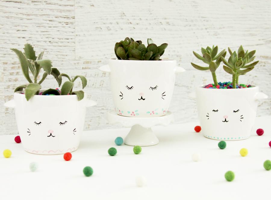 Sweet and Simple DIY Sleepy Kitten Planters
