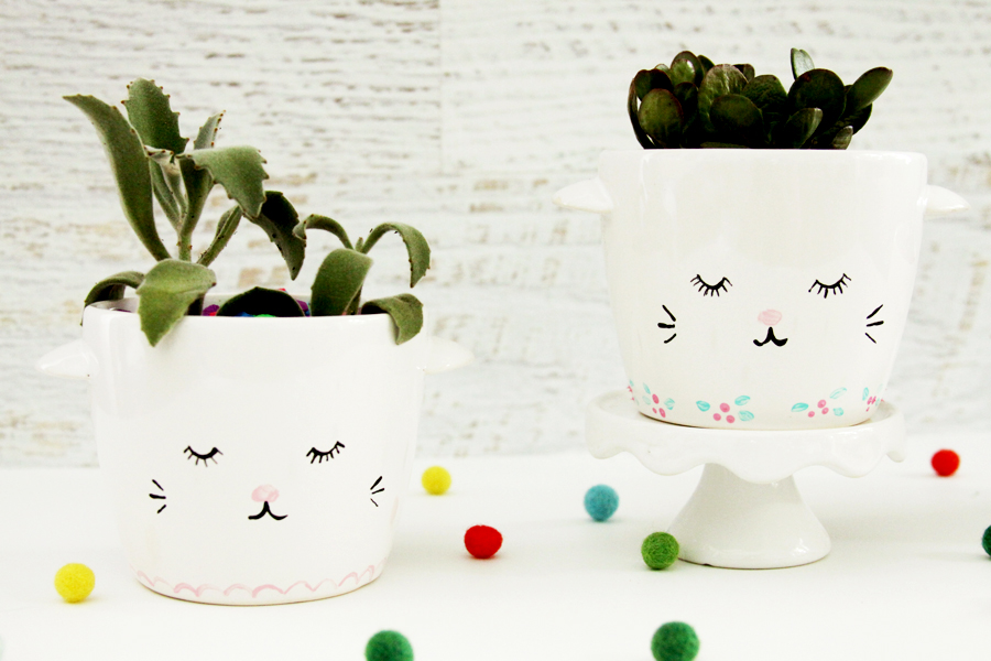 Sweet and Simple DIY Sleepy Kitten Planters
