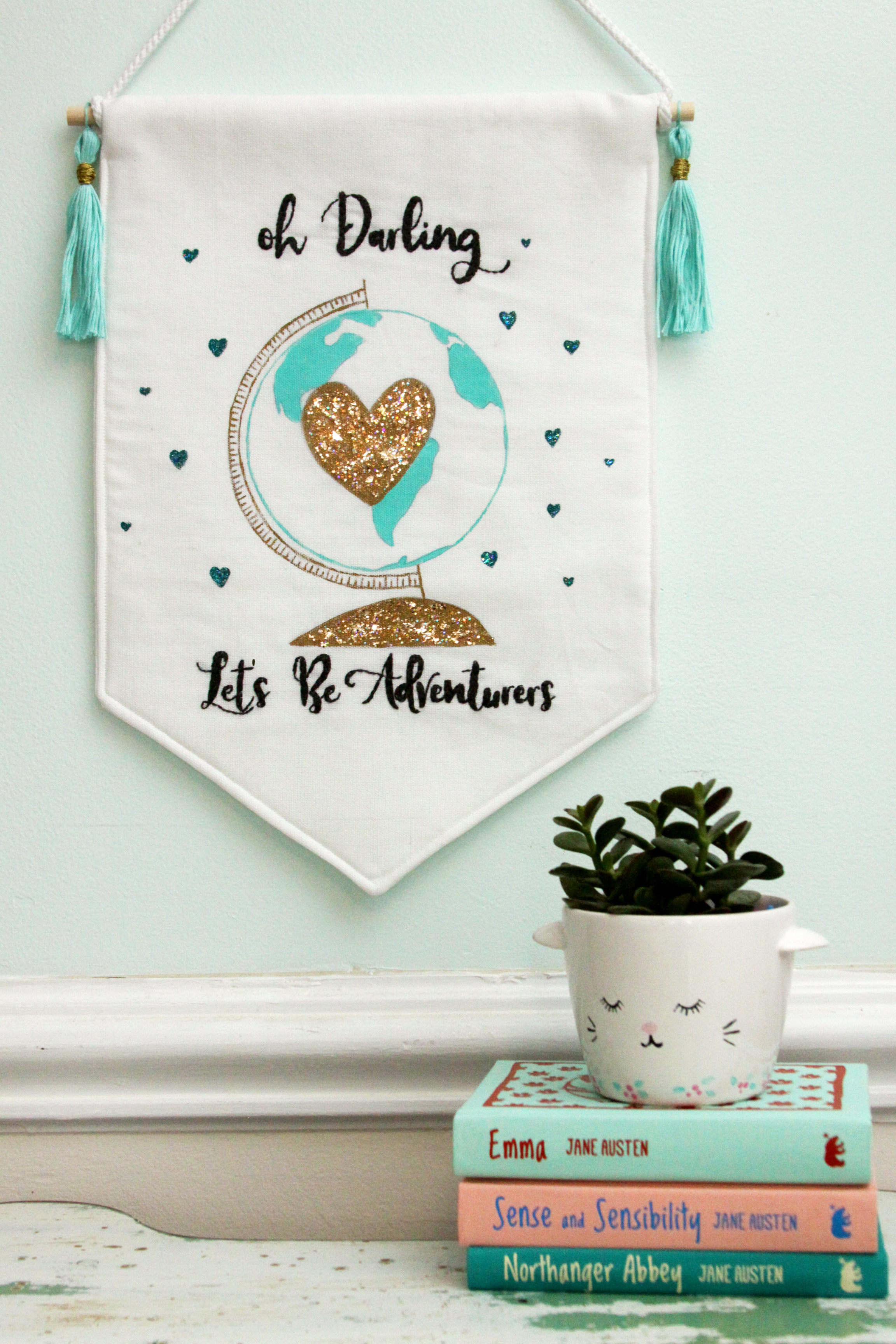 Let's be Adventurers Glitter Globe Banner