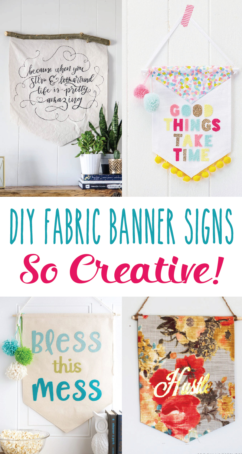 Creative DIY Fabric Banner Signs featured by top US sewing blog, Flamingo Toes.