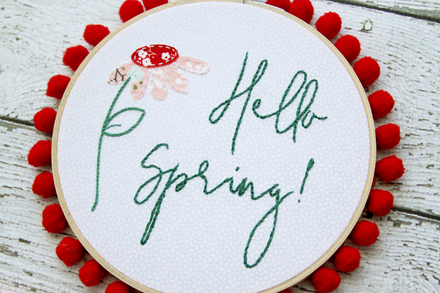 """Hello Spring"" Embroidery Hoop Art"