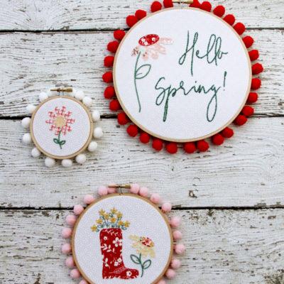 Floral Spring Embroidery Hoop Set