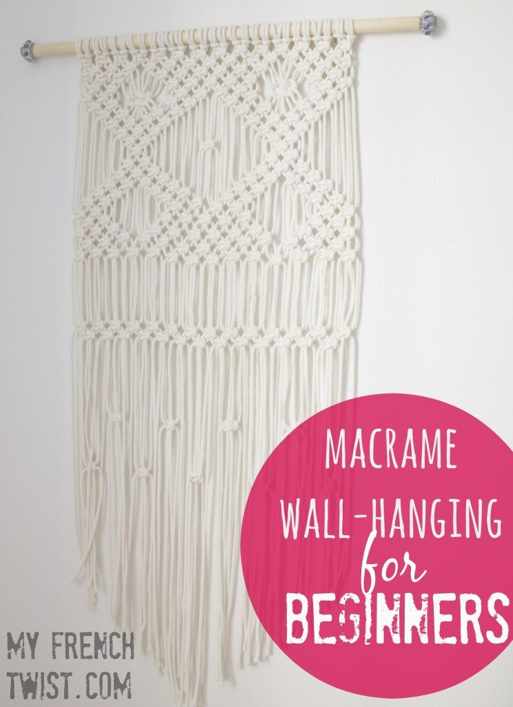 DIY Macrame with Yarn Wall Art featured by top US craft blog, Flamingo Toes.