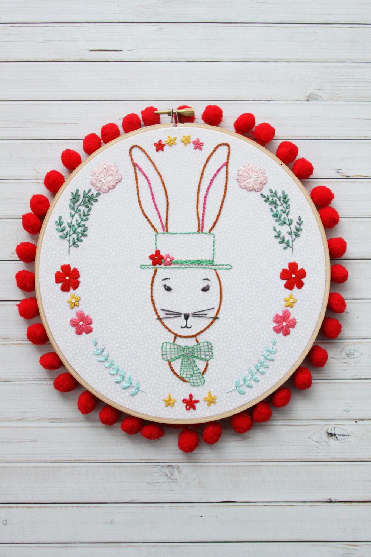 Rabbit Portrait Embroidery Hoop Art