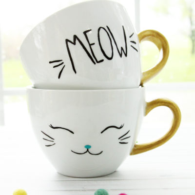DIY Painted & Dishwasher Safe Cat Mugs