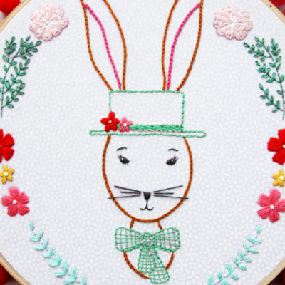 Rabbit Portrait Embroidery Hoop Art