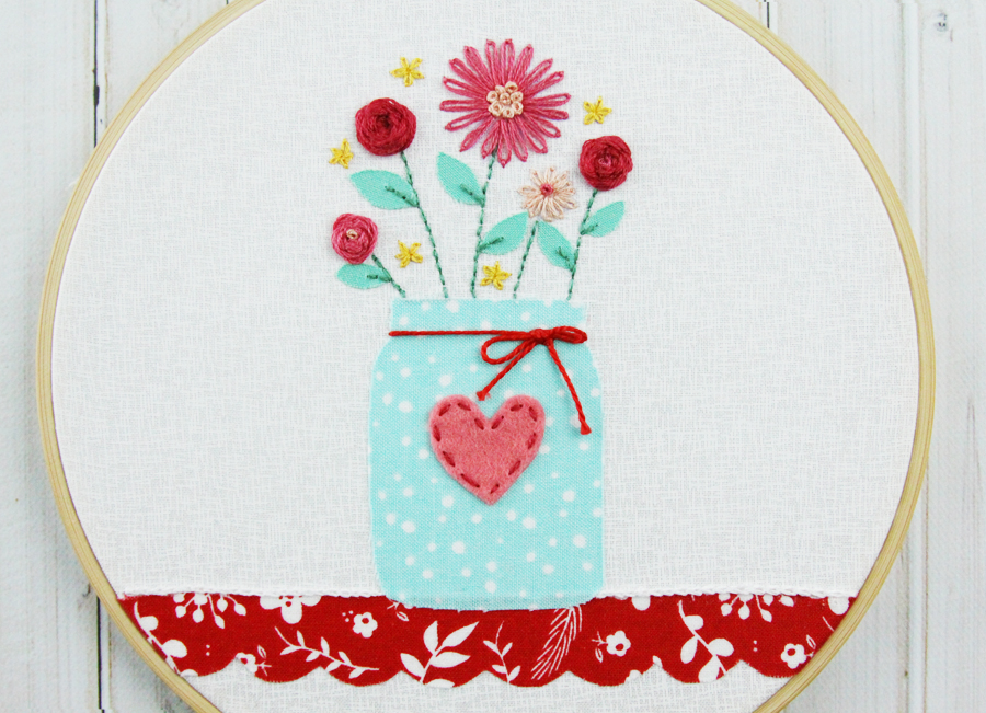 Sweet Mason Jar Vase Hoop Art