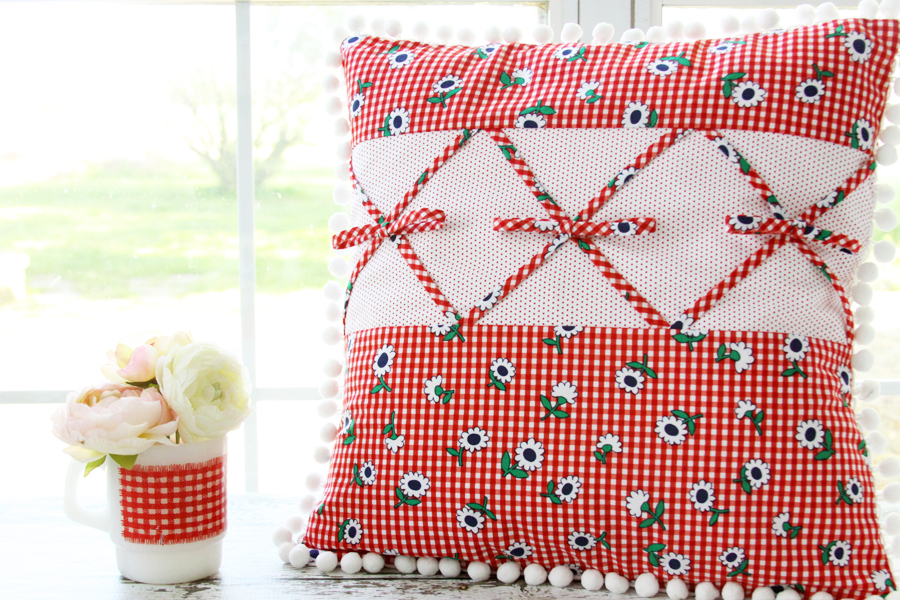 Retro Gingham Pillow with Sunnyside Ave Fabric