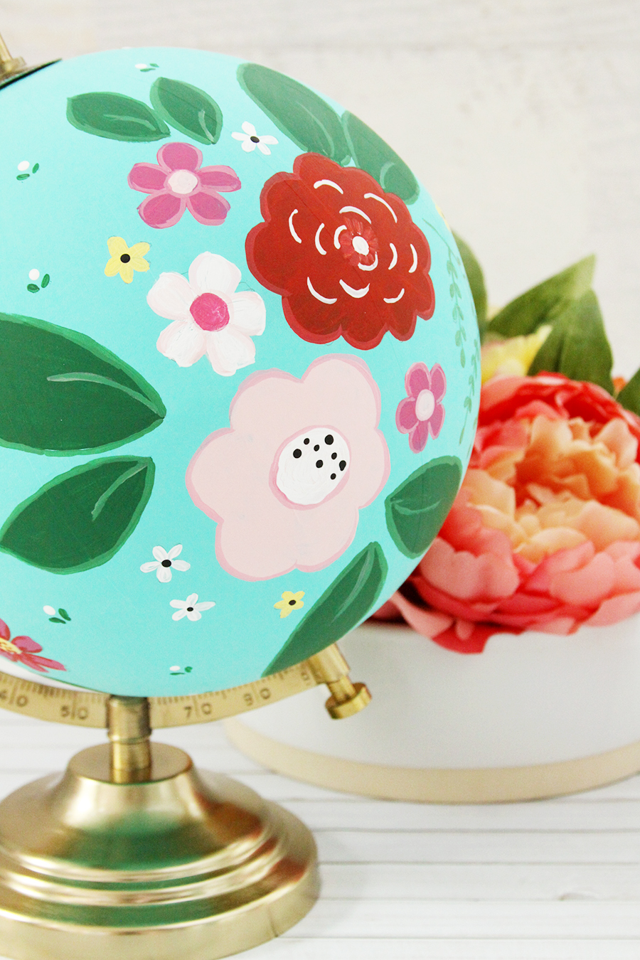 DIY Floral Painted Globe