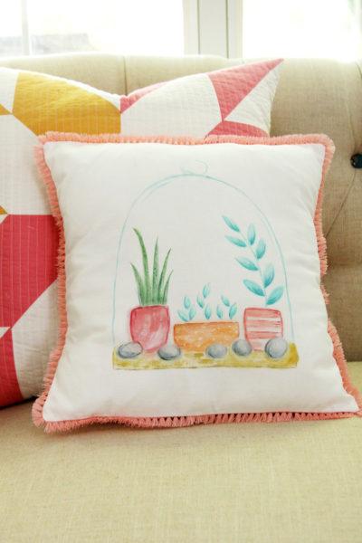 DIY Watercolor Terrarium Pillow