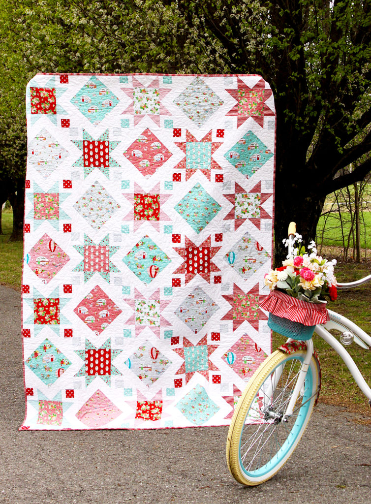 cotton woven fabric material textiles  half yard camp quilt balloon bikes flowers riley blake Vintage Adventure pink main by Flamingo Toes