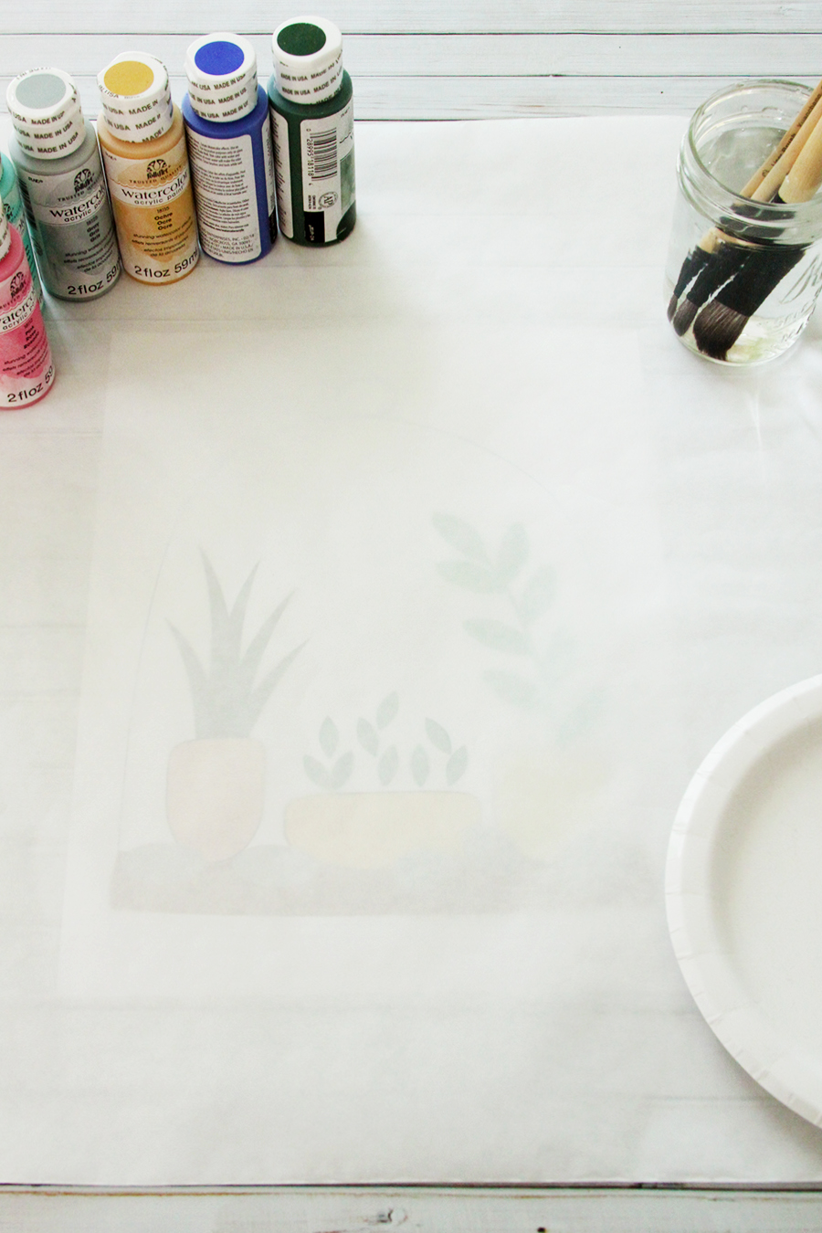 DIY Watercolor Terrarium Pillow