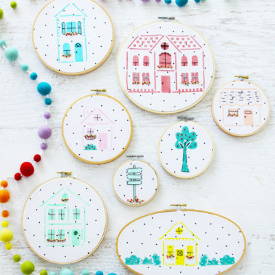 Stenciled Neighborhood Embroidery Hoop Art Gallery