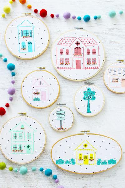 Stenciled Neighborhood Embroidery Hoop Art Gallery