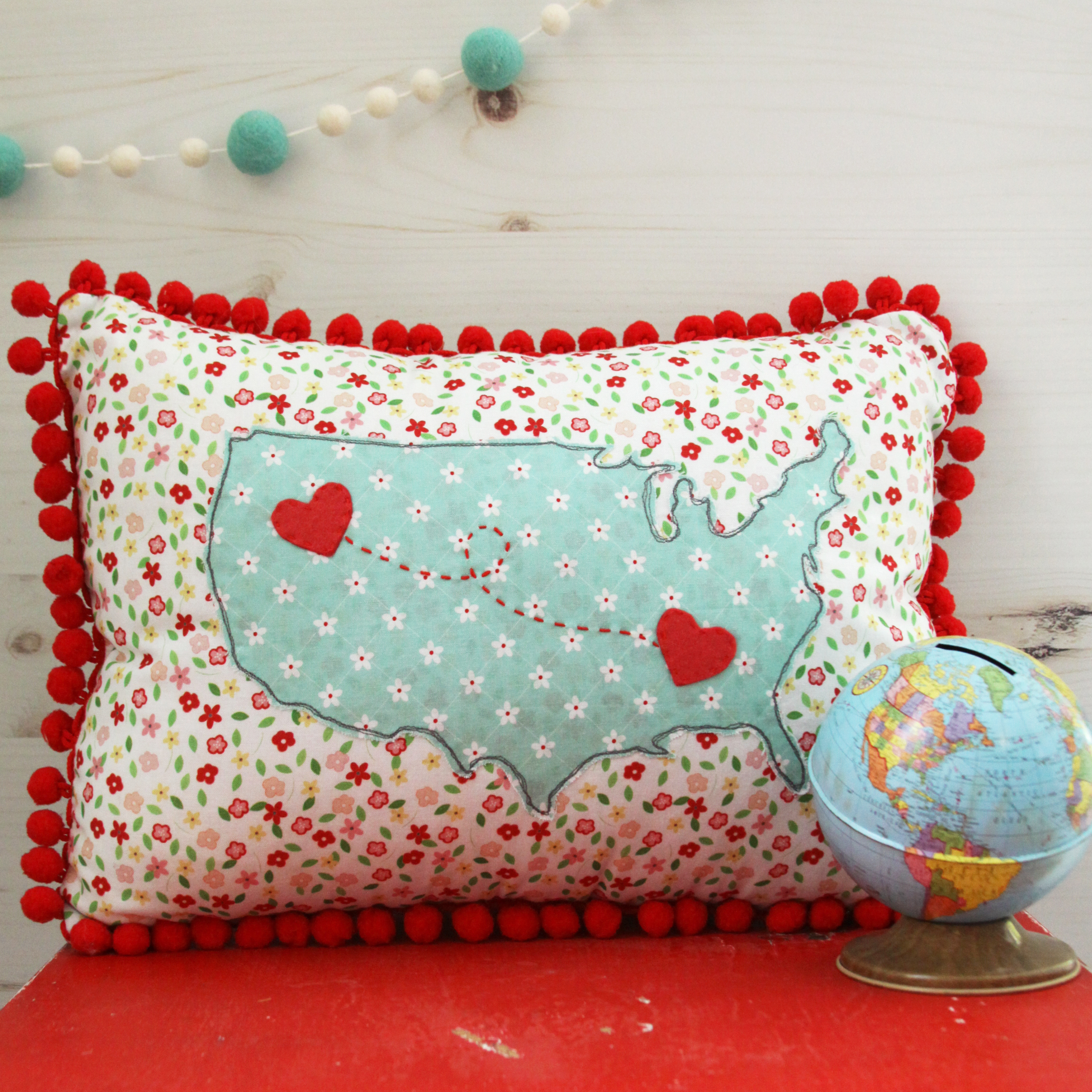 DIY US Map Heart Pillow