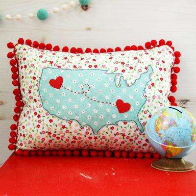 DIY US Map Heart Pillow