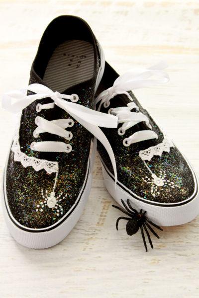 DIY Glitter Spiderweb Halloween Shoes