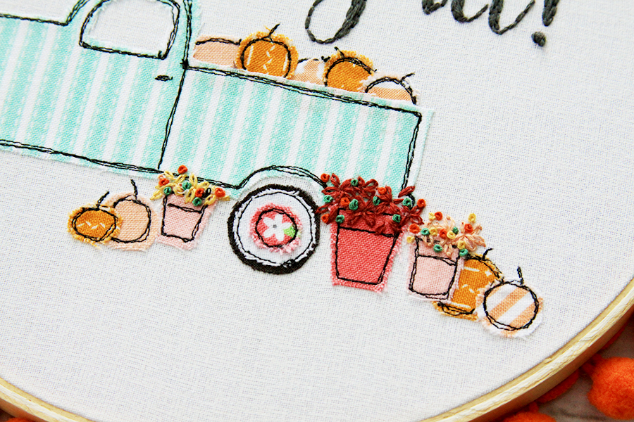 Happy Fall Pumpkin Truck Embroidery Hoop Art -
