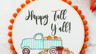 Happy Fall Pumpkin Truck Embroidery Hoop Art