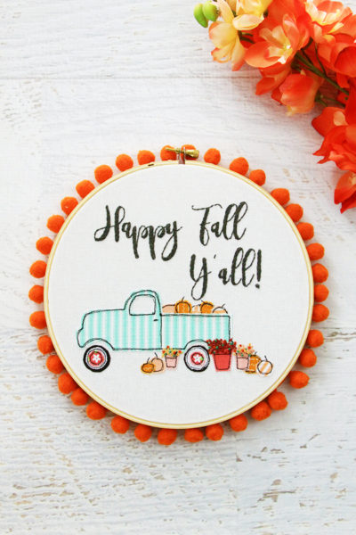 Happy Fall Pumpkin Truck Embroidery Hoop Art